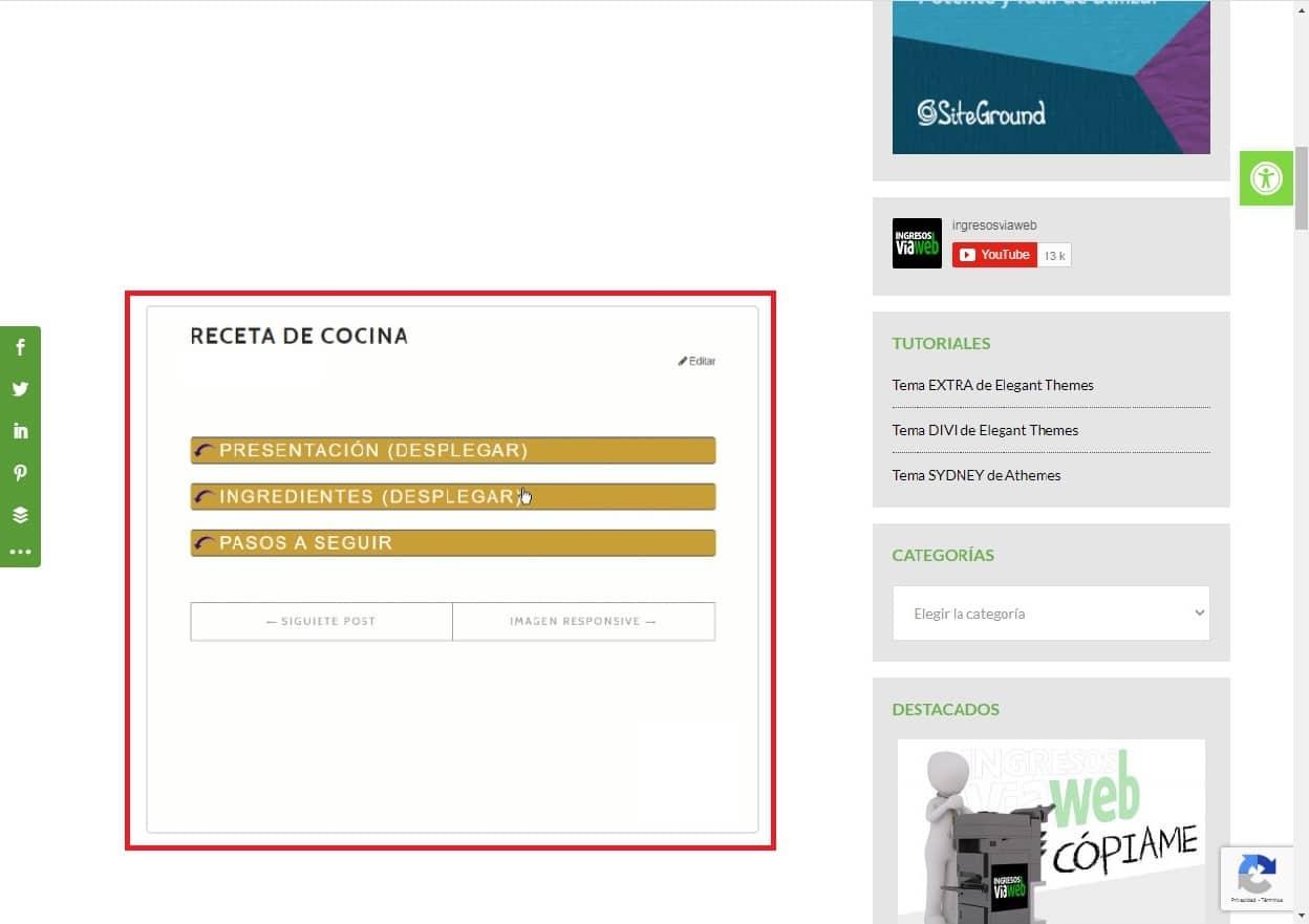 Texto desplegable en WordPress